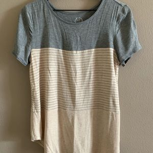 Gray and tan striped tee🌸